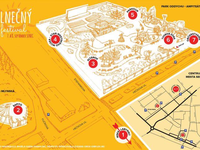 Slnecný festival - mapa